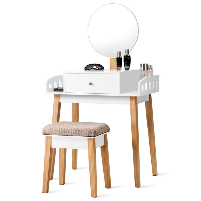 Wooden Makeup Dressing Mirror Table Set with 1 Drawer