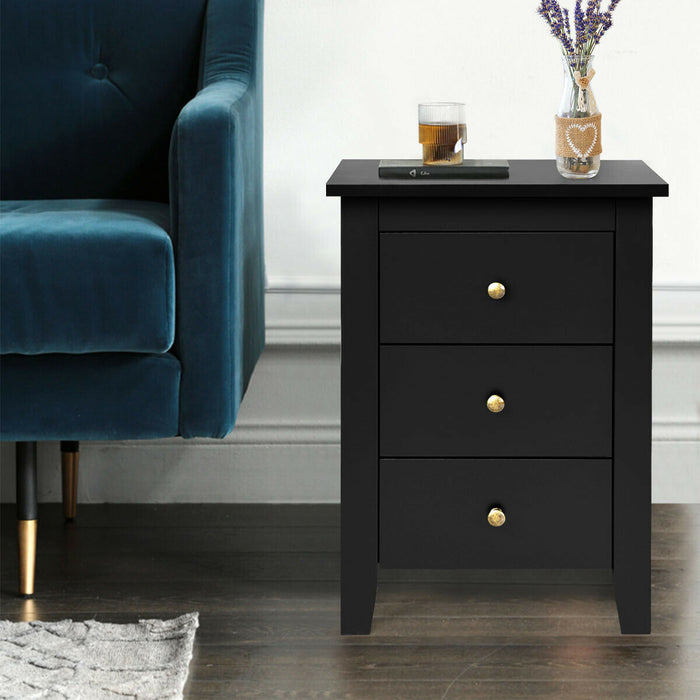 Nightstand End Beside Table Drawers Modern Storage Bedroom Furniture