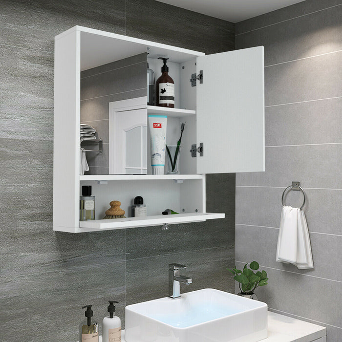 Bathroom Double Mirror Door Wall Mount Storage Wood Cabinet