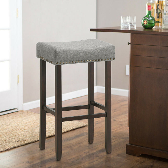 "2 pcs  29.5"" Saddle Bar Stools with Fabric Seat and Wood Legs"
