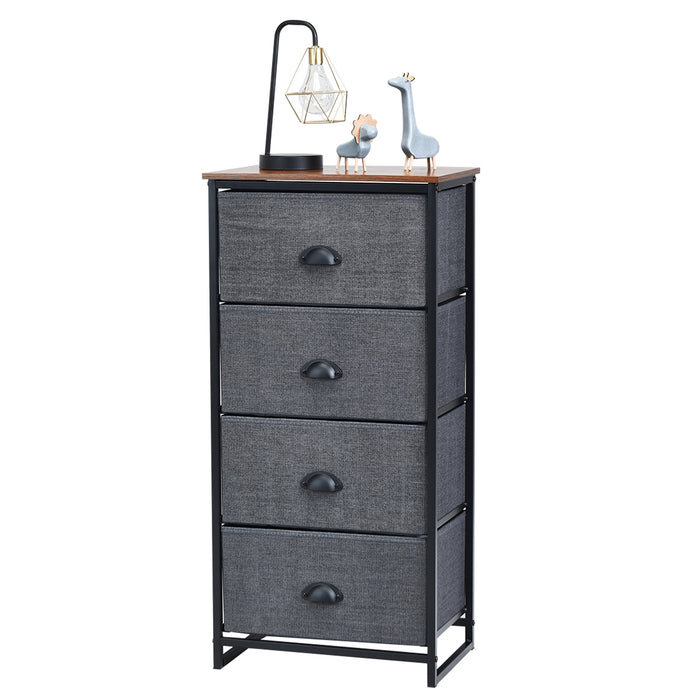 Chest Storage Tower Side Table Display Storage with 4 Drawers