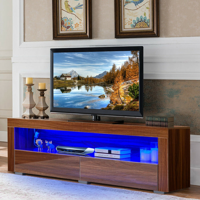 TV Stand Cabinet with LED Shelves