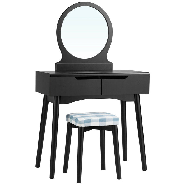 Vanity Set with Mirror Cushioned Stool Dressing Table