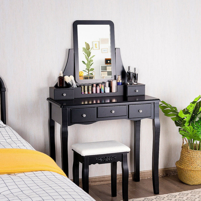 Vanity Set of Mirror Drawers Storage Box Makeup
