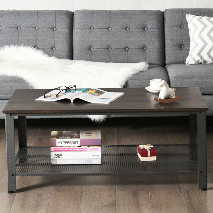 Metal Frame Wood Coffee Table Console Table with Storage Shelf