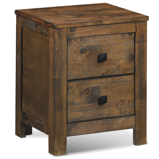 Wood 2 Storage Sliding Drawers End Nightstand