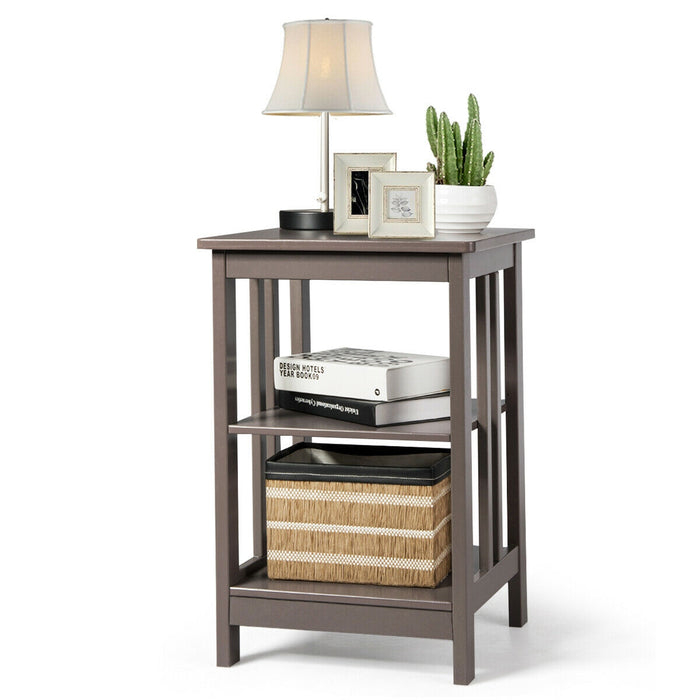 3-Tier Nightstand Side Table with Baffles and Corners