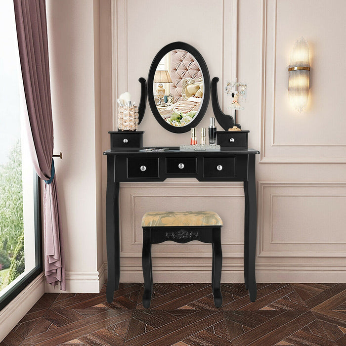 Vanity Make Up Table Set Dressing Table Set with 5 Drawers