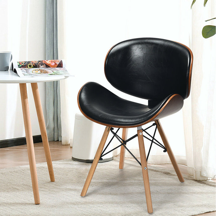 Set of 2 Bentwood Mid-Century PU Leather Dining Chair