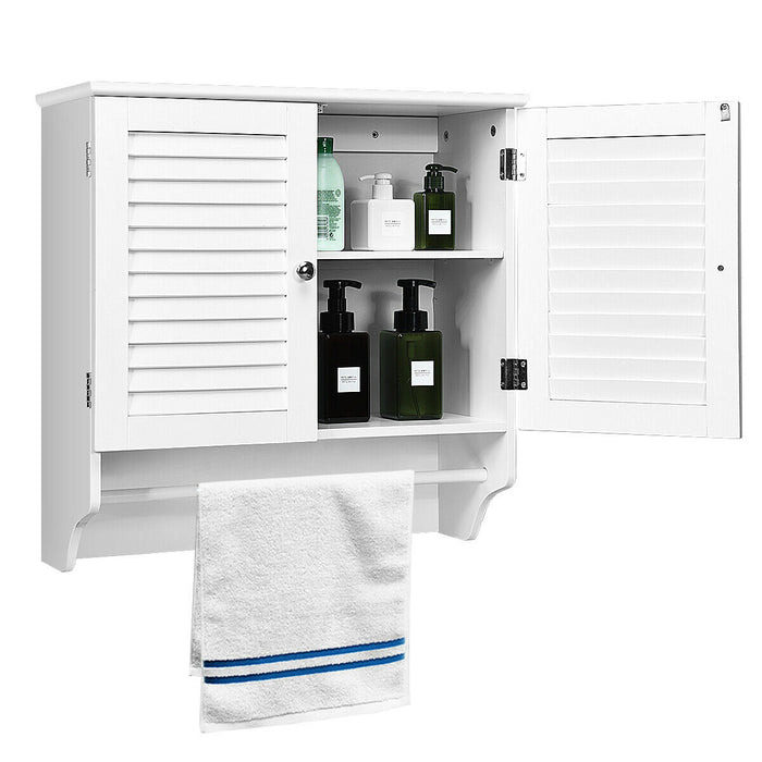 Bathroom Wall Cabinet with Towel Bar and Shelf Storage Rack