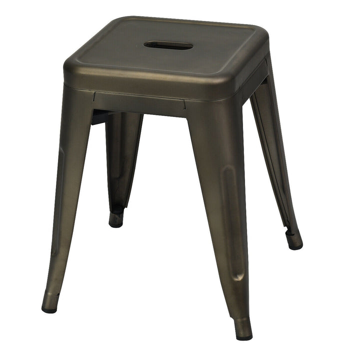 "18"" Height Set of 4 Stackable Backless Industrial Metal Stools"