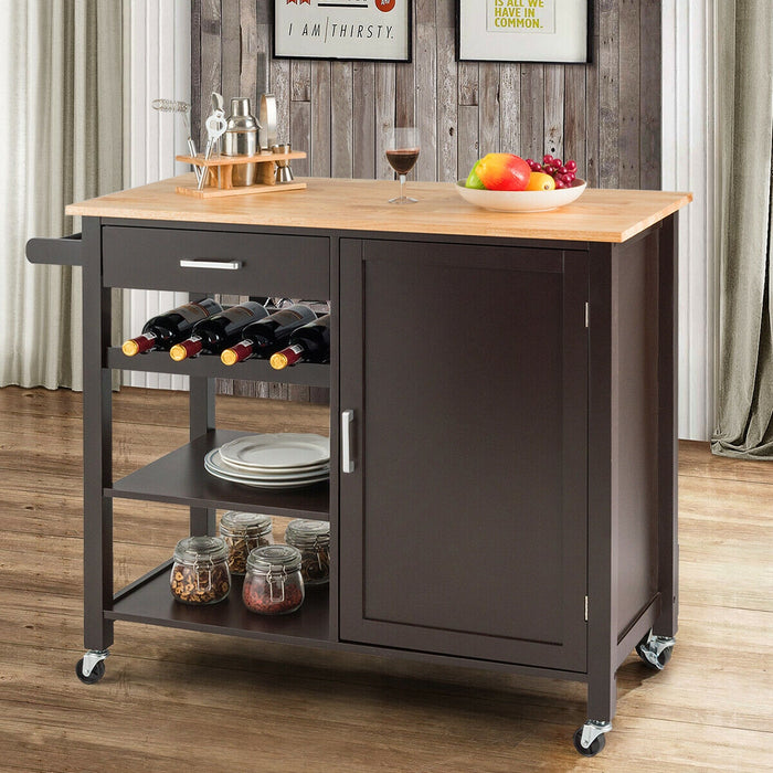 Kitchen Island Cart Rolling Serving Cart Wood Trolley