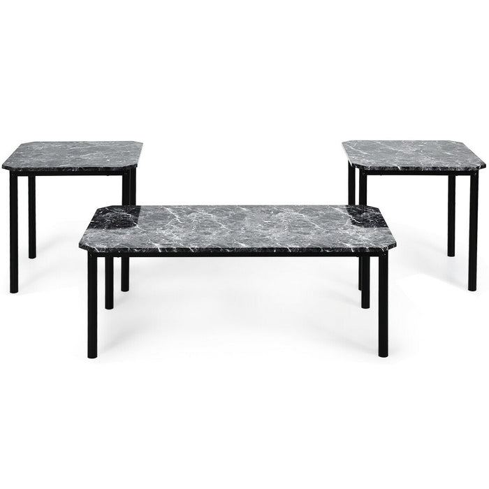 Brilliant 3 Pcs Modern Faux Marble Coffee End Table Set Caraccident5 Cool Chair Designs And Ideas Caraccident5Info