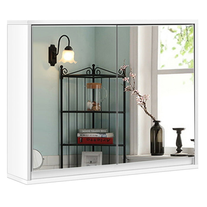 Wall Mounted Bathroom Cabinet Double Mirror Door Shelf