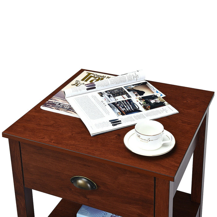 Night Stand Bedside End Table with Storage Drawer and Shelf