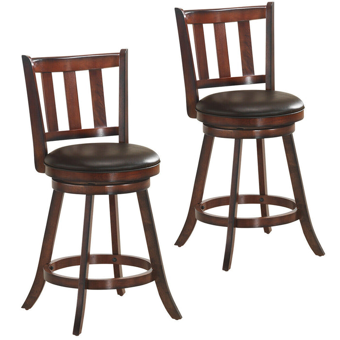 Set of 2 Bistro Leather Padded Swivel Bar stool
