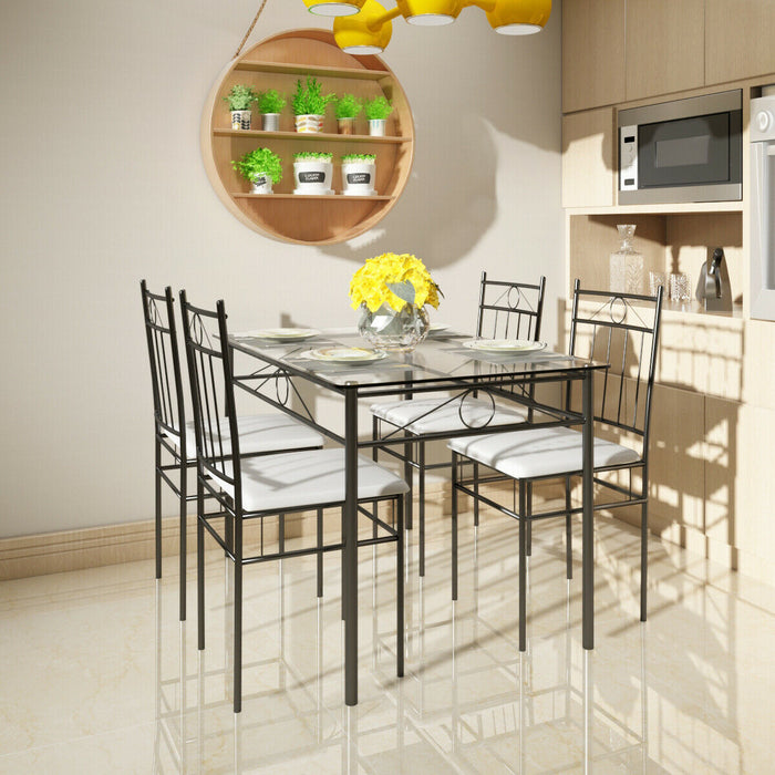 5 pcs Glass Metal Table and 4 Chairs Dining Set