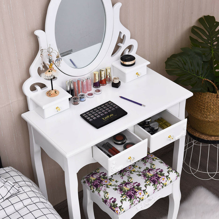 Wood Vanity Dressing Makeup Table Set with Mirror and 4 Drawers