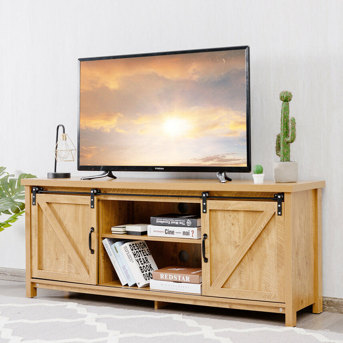 TV Stand with Cabinet Sliding Barn Door