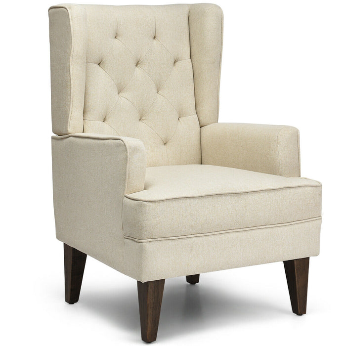 2 in 1 Tufted Rocking Chair Wingback Lounge Leisure Armchair