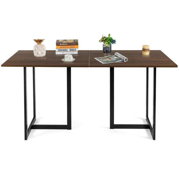 6 Person Industrial Dining Table Rectangular Kitchen Table with Metal Frame