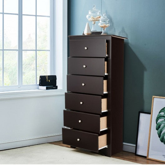 6 Drawers Chest Dresser Clothes Storage Bedroom Furniture Cabinet-Brown