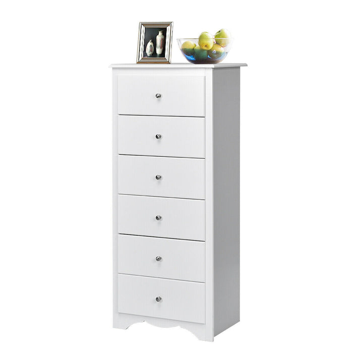 6 Drawers Chest Dresser Clothes Storage Bedroom Tall Furniture Cabinet