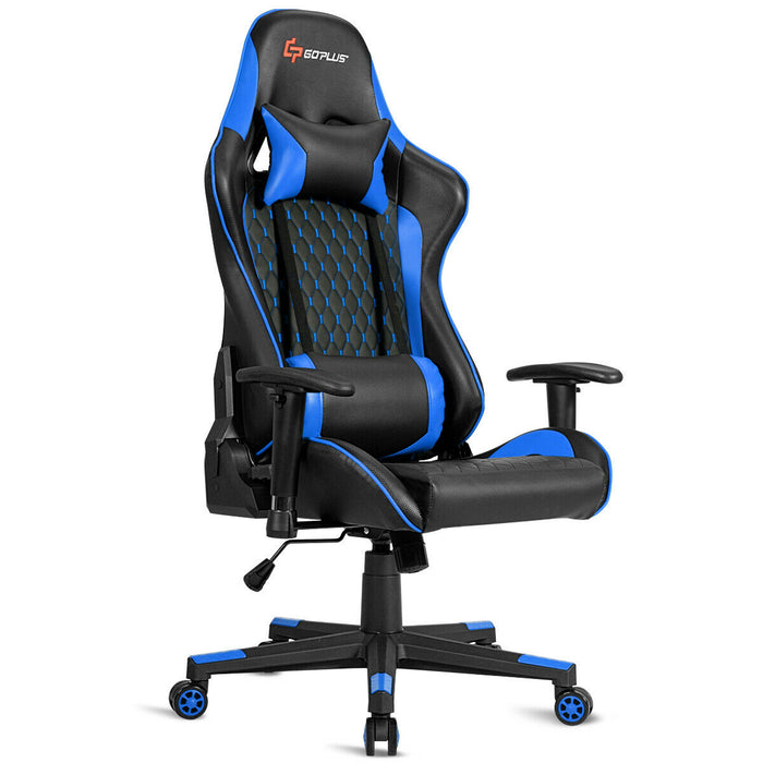 Lumbar Support and Headrest Massage Reclining Gaming Chair