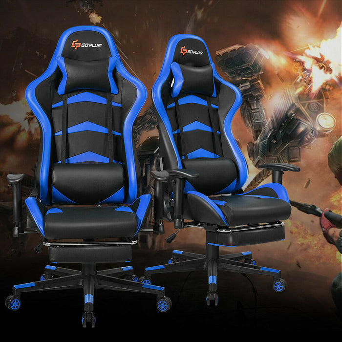 Massage Gaming Chair with Lumbar Support & Footrest