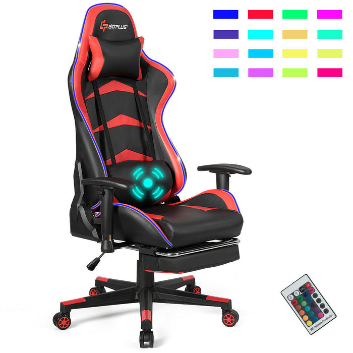 Massage LED Gaming Chair with Lumbar Support & Footrest