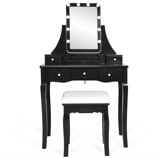 Dimmable Bulbs Touch Switch Vanity Dressing Table Set with Removable Box