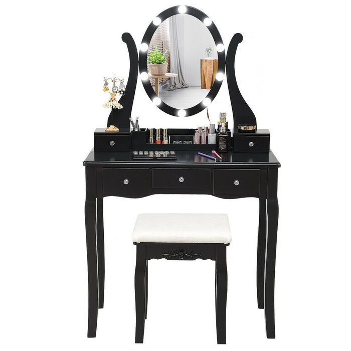 Touch Switch Makeup Dressing Vanity Table Set with 10 Light Bulbs