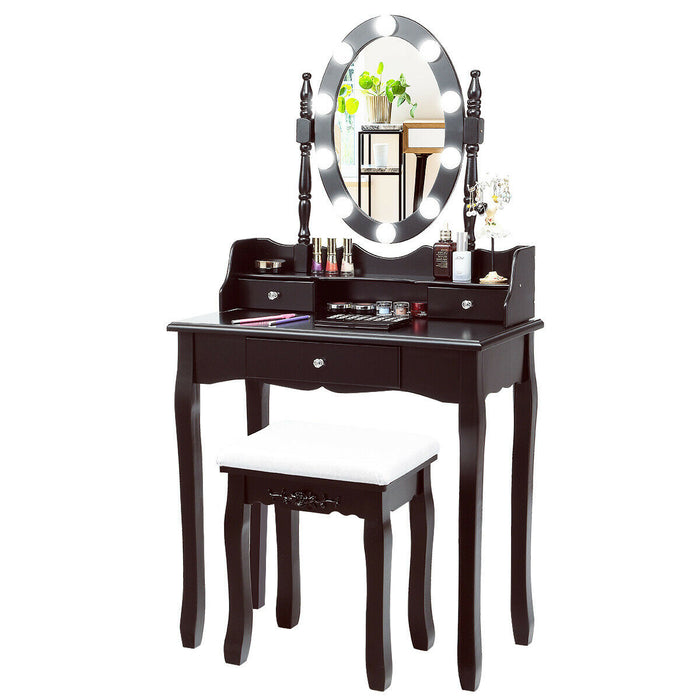 Oval Mirror Vanity Set  with 10 LED Dimmable Bulbs and 3 Drawers