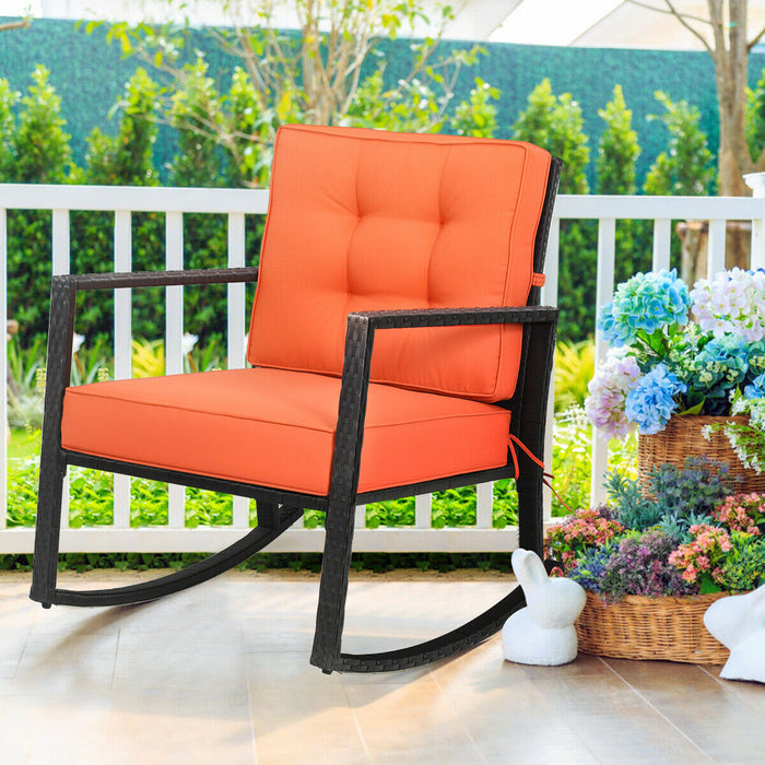 Wicker Rocking Chair Outdoor Glider Rattan Rocker Chair