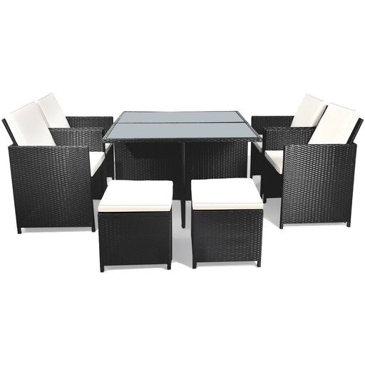 9 Pcs Patio Rattan Dining Set Chairs Ottoman Cushioned Glass Table Top