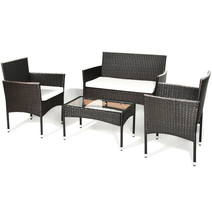 4 pcs Patio Rattan Wicker Furniture Set Cushioned Chair