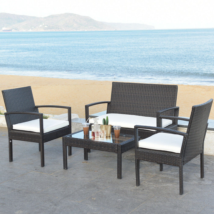 4 pcs Patio Rattan Table Chair Set Cushioned Seat Gargen Furniture
