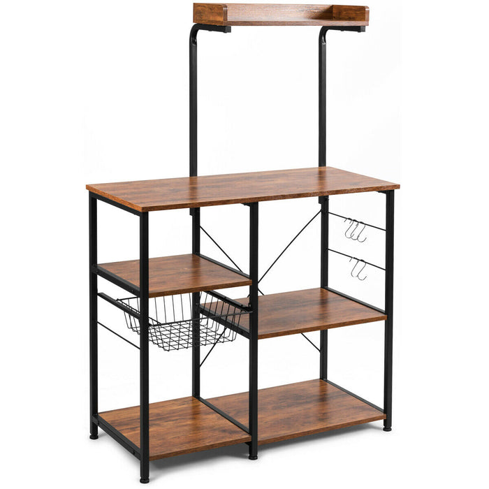 4-tier Kitchen Baker's Rack with Basket and 5 Hooks