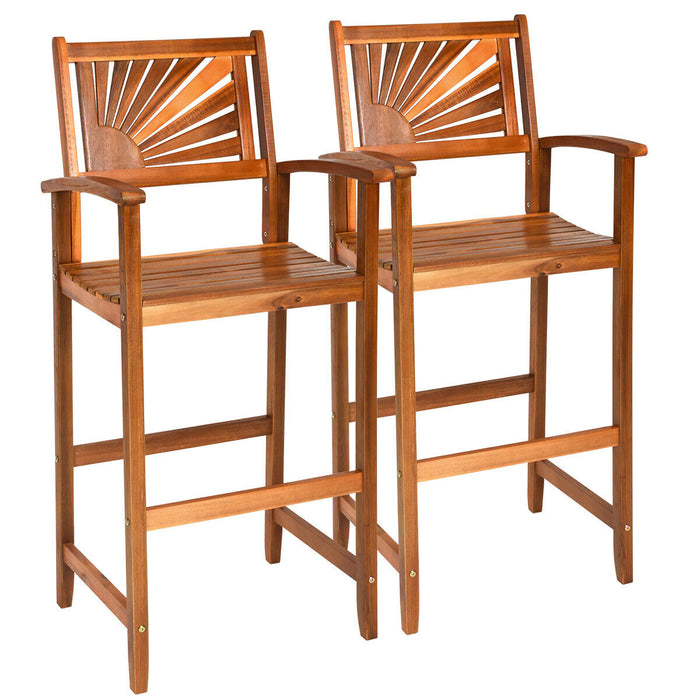 Set of 2 Acacia Wood Barstools with Sector Backrest and Slatted Seat