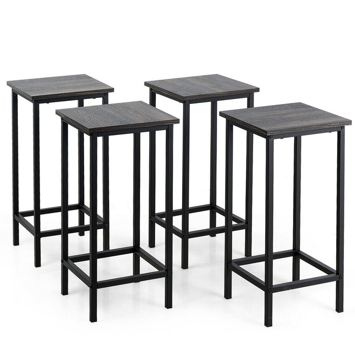 "Set of 4 Bar Stools 24"" Counter Height Backless with Metal Frame"