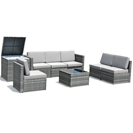 8 Pcs Outdoor Patio Furniture Set Rattan Wicker Sofa Set