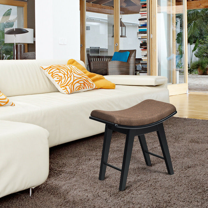 Modern Dressing Makeup Stool with Concave Seat Rubberwood Legs