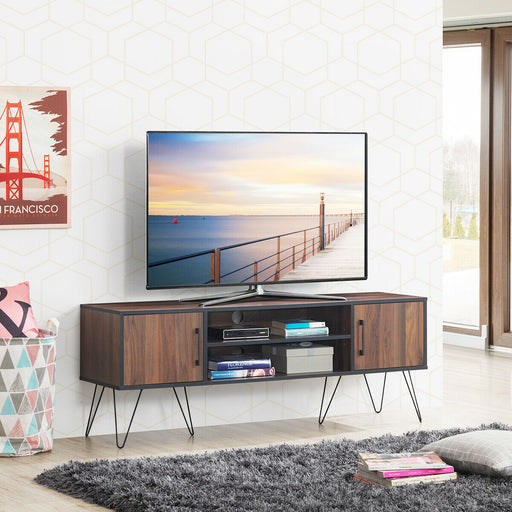 "60"" TV Stand Media Center Storage Cabinet with Metal Leg"