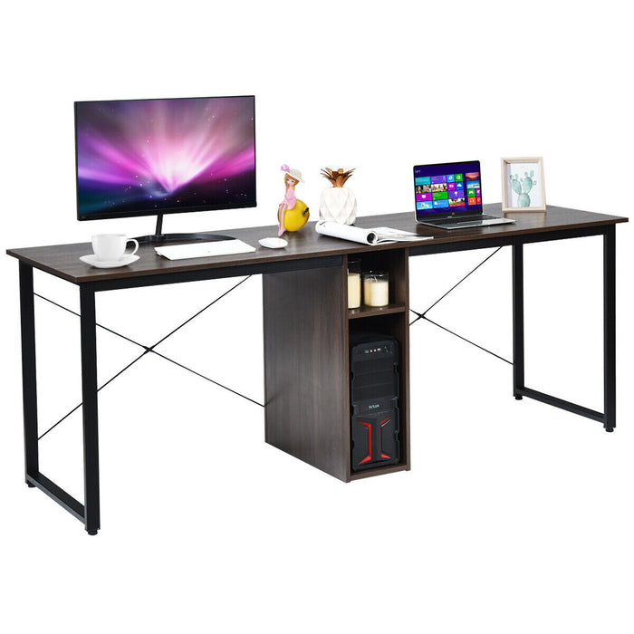 2 Person Computer Desk with Cabinet and X-Shaped Frame