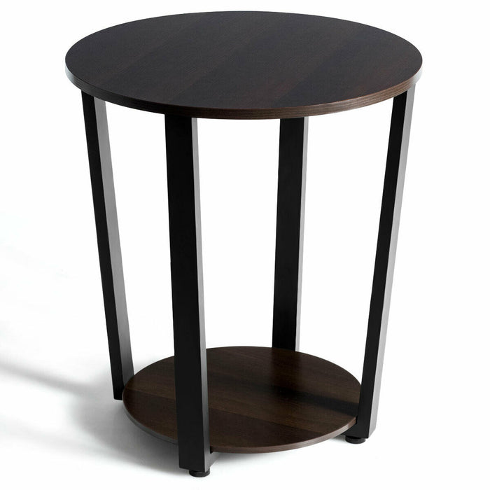 2-tier Round End Table with Storage Shelf & Metal Frame