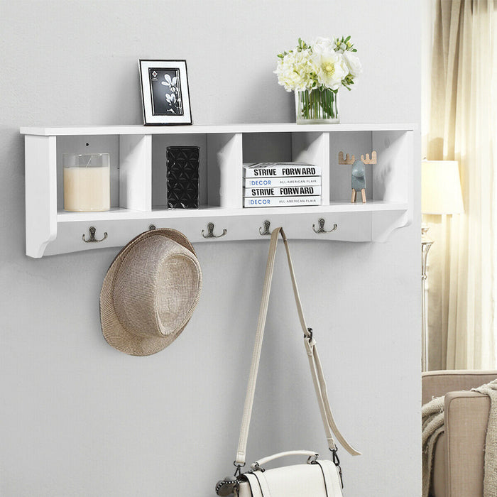 Wall-Mounted Storage Cabinet Hanging Entryway Shelf Coat Rack