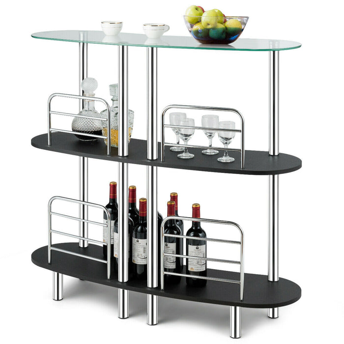 3-tier Bar Cabinets Table with Tempered GlassTop
