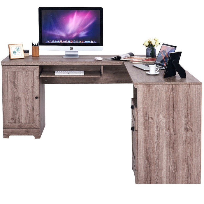 L-Shaped Writing Study Workstation Computer Desk