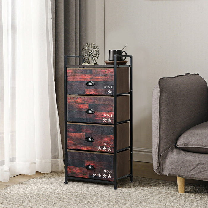 4 Drawer Fabric Dresser Storage Tower Nightstand