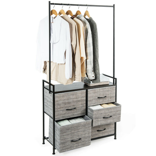 5 Drawers Fabric Dresser with Hanger Metal Top Storage Closet Organizer